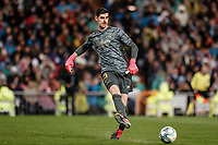 1st March 2020; Estadio Santiago Bernabeu, Madrid, Spain; La Liga Football, Real Madrid versus Club de Futbol Barcelona; Thibaut Courtois (Real Madrid) plays the ball back to his defense