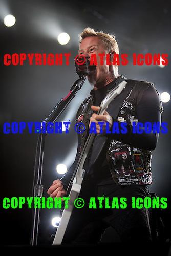 James Hetfield; METALLICA; Live: 2012<br /> Photo Credit: JOSH WITHERS/ATLASICONS.COM