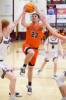 Westside Eagle Observer/RANDY MOLL<br /> Gravette junior guard Jake Carver goes up for a two-pointer during play against the Pioneers in Gentry on Feb. 4, 2020.