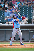 Dan Vogelbach (21) of the Tennessee Smokies at bat against the Birmingham Barons at Regions Field on May 3, 2015 in Birmingham, Alabama.  The Smokies defeated the Barons 3-0.  (Brian Westerholt/Four Seam Images)