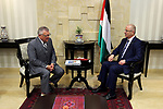 Palestinian Prime Minister Rami Hamdallah meets with Canada's Public Safety Minister Ralph Goodale, at his office, in the West Bank city of Ramallah, on August 1, 2017. Photo by Prime Minister Office