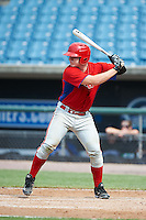 Kyle Devin #21 of Lynn Classical High School in Lynn, Massachusetts playing for the Philadelphia Phillies scout team during the East Coast Pro Showcase at Alliance Bank Stadium on August 2, 2012 in Syracuse, New York.  (Mike Janes/Four Seam Images)