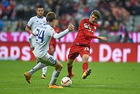 FUSSBALL  1. BUNDESLIGA  SAISON 2015/2016  24. SPIELTAG FC Bayern Muenchen - 1. FSV Mainz 05       02.03.2016 Gaetan Bussmann (li, 1. FSV Mainz 05) gegen Thomas Mueller (re, FC Bayern Muenchen)