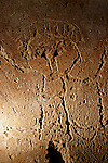The Judean mountains, Israel. Carved drawing depicting John the Baptist in the Cave of John the Baptist by kibbutz Tzuba near Ein Karem<br />
