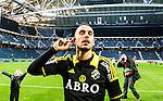 Solna 2015-04-26 Fotboll Allsvenskan AIK - &Ouml;rebro SK :  <br /> AIK:s Panajotis Dimitriadis framf&ouml;r AIK:s supportrar efter matchen mellan AIK och &Ouml;rebro SK <br /> (Foto: Kenta J&ouml;nsson) Nyckelord:  AIK Gnaget Friends Arena Allsvenskan &Ouml;rebro &Ouml;SK jubel gl&auml;dje lycka glad happy