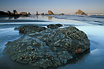 Barnacles on tidal rocks and ocean surf waves on coastal beach at sunrise, Bandon State Beach, Bandon, Oregon