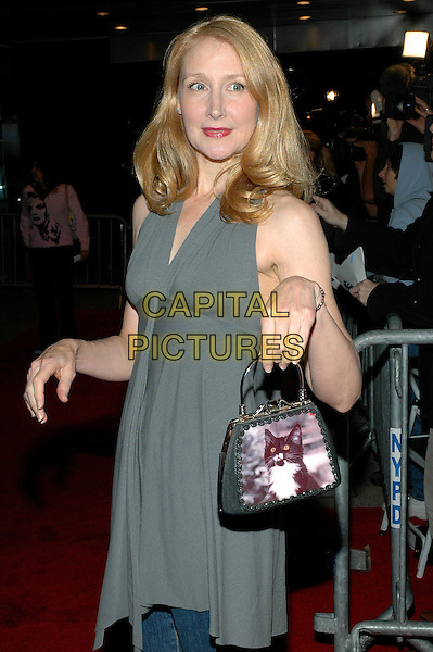 "PATRICIA CLARKSON.The premiere of their new film, ""The Dying Gaul"" at the Chelsea West Theater in Manhattan, New York, New York ..November 1st, 2005.Photo Credit: Patti Ouderkirk/AdMedia/Capital Pictures.Ref: PO/ADM.half length grey gray cat kitten bag purse .www.capitalpictures.com.sales@capitalpictures.com.© Capital Pictures."