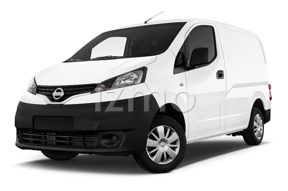 Stock pictures of low aggressive front three quarter view of a 2015 Nissan NV200 Visia 5 Door Cargo Van