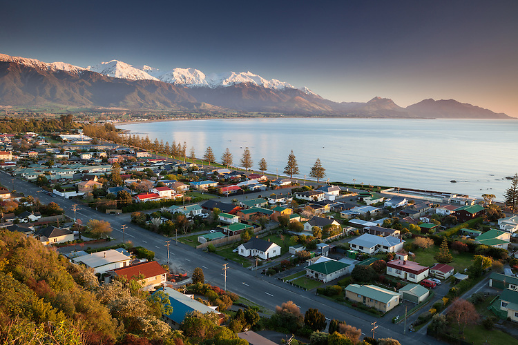 Kaikoura township and the Kaikouras, South Island, New Zealand - stock photo, canvas, fine art print