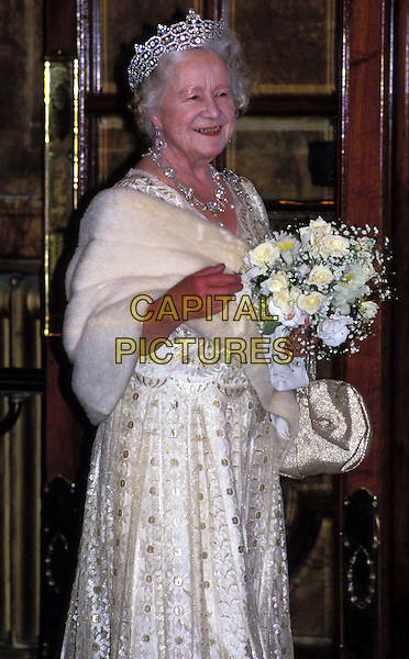 HM THE QUEEN MOTHER..Ref: 026..half length, half-length, tiara, flowers, fur wrap, royalty, dead, deceased..www.capitalpictures.com..sales@capitalpictures.com..©Capital Pictures