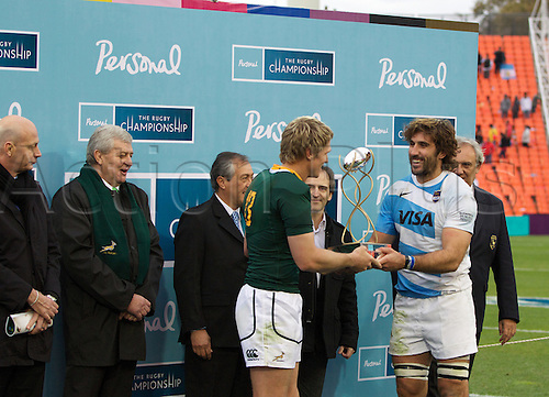 25.08.2012. Mendoza, Argentina.  Jean de Villiers & Juan Martin Fernandez Lobbe - Argentina v South Africa at Estadio  Malvinas Argentinas - Mendoza - Argentina - The Rugby Championship 2012  The game ended in a 13-13 draw after a huge Pumas recovery in the second half.