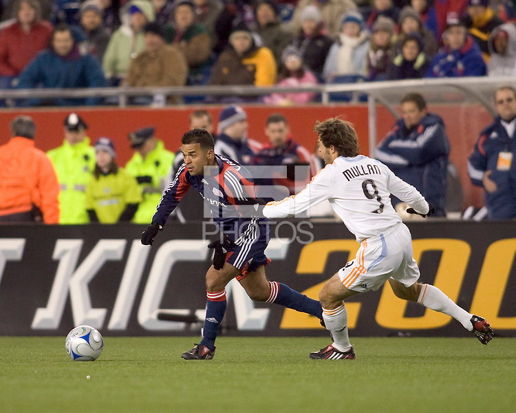 New England Revolution midfielder Mauricio Castro (7) in his first game with the Revolution. The New England Revolution defeated the Houston Dynamo 3-0 in their Major League Soccer home opener at Gillette Stadium in Foxborough, Massachusetts on March 29, 2008.
