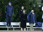 UNC head coach Anson Dorrance (center) with goalkeeping coach Chris Ducar (l), assistant coach Bill Palladino (r), and assistant Catherine Reddick (behind) on Friday, November 25th, 2005 at Fetzer Field in Chapel Hill, North Carolina. The Florida State Seminoles defeated the University of North Carolina Tarheels 5-4 on penalty kicks after the teams tied 1-1 after overtime during their NCAA Women's Soccer Tournament quarterfinal game.