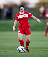 Diana Matheson (8) of the Washington Spirit brings the ball forward during the game at the Maryland SoccerPlex in Boyds, MD.  Washington tied Western NY, 1-1.