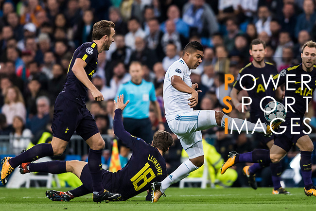 Carlos Henrique Casemiro of Real Madrid (C) in action during the UEFA Champions League 2017-18 match between Real Madrid and Tottenham Hotspur FC at Estadio Santiago Bernabeu on 17 October 2017 in Madrid, Spain. Photo by Diego Gonzalez / Power Sport Images