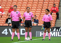 Match offocials for the Women's Rugby League World Cup warmup match between the Kiwi Ferns and Wahine Toa at the FMG Stadium in Hamilton, New Zealand on Saturday, 4 November 2017. Photo: Dave Lintott / lintottphoto.co.nz