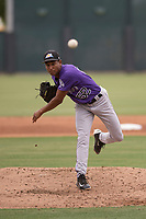 Colorado Rockies relief pitcher Keinter Olivares (52) follows through on his delivery during an Extended Spring Training game against the Arizona Diamondbacks at Salt River Fields at Talking Stick on April 16, 2018 in Scottsdale, Arizona. (Zachary Lucy/Four Seam Images)
