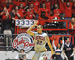 "Mississippi's Marshall Henderson (22) reacts to making a three pointer vs. Mississippi State at the C.M. ""Tad"" Smith Coliseum on Wednesday, February 6, 2013. Henderson scored 31 points in Mississippi's 93-75 win. (AP Photo/Oxford Eagle, Bruce Newman).."