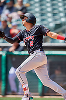 Yonathan Daza (2) of the Albuquerque Isotopes bats against the Salt Lake Bees at Smith's Ballpark on April 28, 2019 in Salt Lake City, Utah. The Bees defeated the Isotopes 14-8. (Stephen Smith/Four Seam Images)