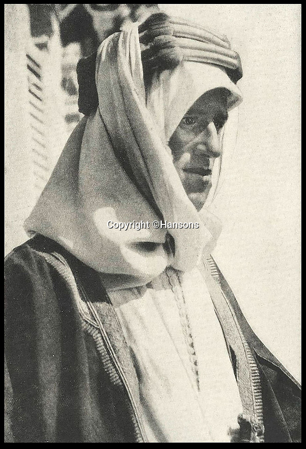 BNPS.co.uk (01202 558833)Pic: Hansons/BNPS<br /> <br /> Lawrence of Arabia in Damascus in 1918.<br /> <br /> An extraordinary archive of items relating to legendary soldier Lawrence of Arabia has emerged...Including the desert hero's arabian sandals!<br /> <br /> The collection has come from Rodney Havelock Walker whose parents were friends of the enigmatic T E Lawrence and lived near his Clouds Hill home in Dorset.<br /> <br /> As well as the leather sandal's there is a early edition of the Seven Pillers of Wisdom, a school prize book presented to Lawrence in 1903 and a photograph of Cyrene taken by Lawrence before the war.<br /> <br /> Also included is a poignant christening picture of Rodney Havelock Walker on 10th November 1935, its annotated by his parents as being in Lawrence's own christening robes. The war hero had died in suspicious circumstances just 7 months earlier.<br /> <br /> Hansons - December 19th -  Est £3000.
