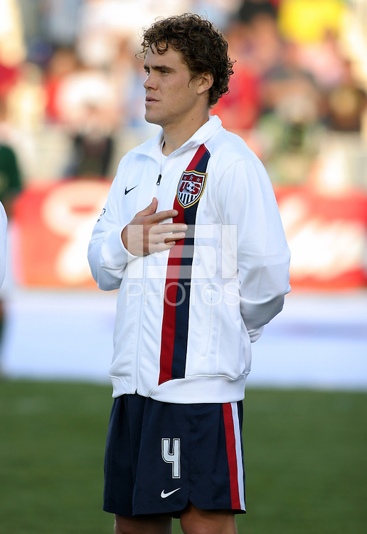 Chris Albright during the national anthem. The USA tied Jamaica 1-1 at SAS Soccer Park in Cary, N.C. on April 11, 2006.