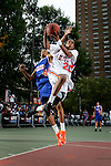 Chris Allen (20) goes up for a layup with defense by Anthony Randolph (4) during the Elite 24 Hoops Classic game on September 1, 2006 held at Rucker Park in New York, New York.  The game brought together the top 24 high school basketball players in the country regardless of class or sneaker affiliation.