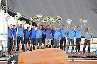 SKÛTSJESILEN: SNEEK: Snitser Mar, 31-07-2015, SKS kampioenschap 2015, Joure kampioen, Dirk Jan Reijenga en zijn bemanning vieren het historische kampioenschap, ©foto Martin de Jong