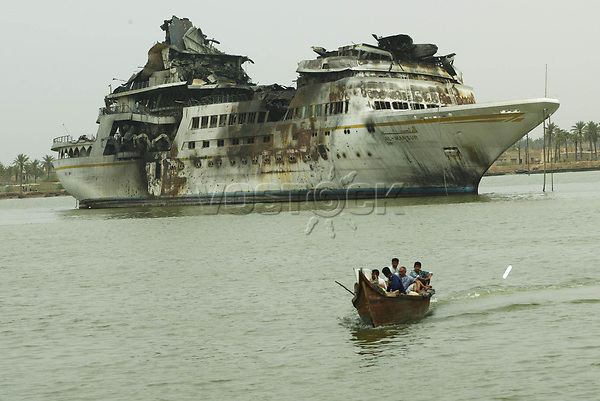Saddam Hussein's luxury yacht the al Mansur. The yacht was bombed while moored in Basra, southern Iraq.