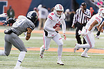 Wisconsin Badgers long snapper Adam Bay (51) runs down field during an NCAA College Big Ten Conference football game against the Illinois Fighting Illini Saturday, October 28, 2017, in Champaign, Illinois. The Badgers won 24-10. (Photo by David Stluka)