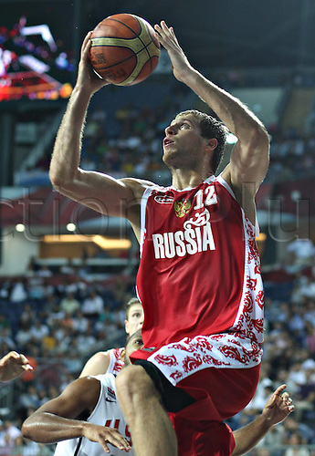 09.09.2010 Istanbul FIBA Basketball World Championship The Quarter finals USA v Russia. Kevin Durant scored 33 points and the United States beat Russia 89-79 to move within two wins of its first world championship since 1994. Picture shows Sergey Monya of Russia.