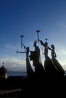Statues of a priest and parishoners, old San Juan, Puerto Rico.
