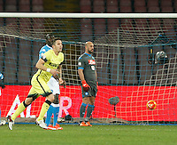 Stevan Jovetic celebrates after scoring during the Quartef-final of Tim Cup soccer match,between SSC Napoli and vFC Inter    at  the San  Paolo   stadium in Naples  Italy , January 19, 2016