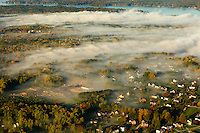 A morning mist rolls across the Charlotte, NC, landscape in late October, 2008.