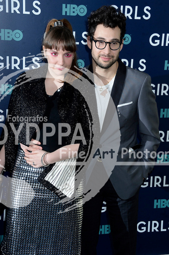 Lena Dunham and musician Jack Antonoff attend the 'Girls' premiere at Alice Tully Hall, Lincoln Center on February 2, 2017 in New York City.