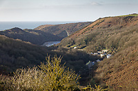 Pictured: The view of the village of Solva from Trecadwgan farm near Solva. Friday 10 January 2020<br /> Re: Farmers campaigning to save a 14th century farm called Trecadwgan and keep it for a community project in Solva, west Wales, UK.
