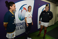Referee Marie Lematte tosses the coin with Wales Captain Carys Phillips and Italian Captain Sara Baratiin looking on <br /> <br /> Photographer Ian Cook/CameraSport<br /> <br /> 2018 Women's Six Nations Championships Round 4 - Wales Women v Italy Women - Sunday 11th March 2018 - Principality Stadium - Cardiff<br /> <br /> World Copyright &copy; 2018 CameraSport. All rights reserved. 43 Linden Ave. Countesthorpe. Leicester. England. LE8 5PG - Tel: +44 (0) 116 277 4147 - admin@camerasport.com - www.camerasport.com