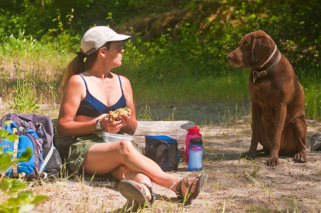 Woman eating her picnic lunch, while her dog politely begs for a bite, North Fork of the American River, Weimar, California.