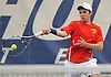 Robert Sangirardi of Chaminade returns a volley from Emilio Niland of St. Anthony's (not in picture) in the second singles match of the NSCHSAA varsity boys tennis team championship at Hofstra University on Tuesday, May 10, 2016. Sangirardi won the match to help Chaminade to the league title.