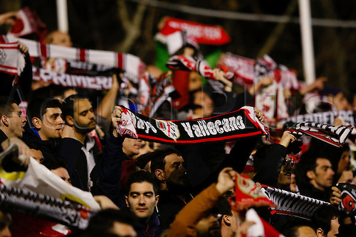 03.03.2016. Madrid, Spain.  Rayo Vallecano Fans. La Liga match between Rayo Vallecano and FC Barcelona at the Vallecas stadium in Madrid, Spain