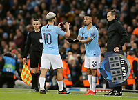 Manchester City's Sergio Aguero is replaced by Gabriel Jesus<br /> <br /> Photographer Rich Linley/CameraSport<br /> <br /> UEFA Champions League Round of 16 Second Leg - Manchester City v FC Schalke 04 - Tuesday 12th March 2019 - The Etihad - Manchester<br />  <br /> World Copyright © 2018 CameraSport. All rights reserved. 43 Linden Ave. Countesthorpe. Leicester. England. LE8 5PG - Tel: +44 (0) 116 277 4147 - admin@camerasport.com - www.camerasport.com