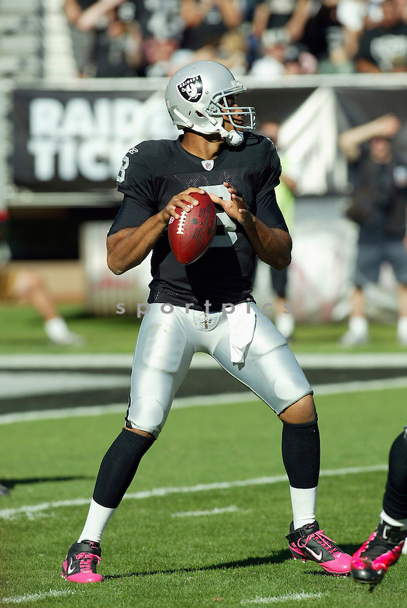 JASON CAMPBELL, of the Oakland Raiders, in action during the Raiders game against the San Diego Chargers on October 10, 2010 at the Oakland-Alameda County Coliseum in Oakland, California...Oakland beats San Diego 35-27