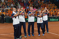 The Hague, The Netherlands, September 17, 2017,  Sportcampus , Davis Cup Netherlands - Chech Republic, Fifth match : Chech team thanking the crowd<br /> Photo: Tennisimages/Henk Koster