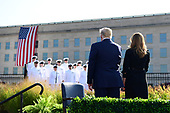 United States President Donald J. Trump and first lady Melania Trump salute the flag in front of the  Pentagon during the 18th anniversary commemoration ceremony of the September 11 terrorist attacks, in Arlington, Virginia on Wednesday, September 11, 2019.  <br /> Credit: Kevin Dietsch / Pool via CNP