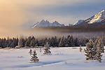 Idaho, South Central, Stanley, Sawtooth National Recreation Area. Low laying fog sits at the base of the Sawtooth Mountains at dawn in winter.