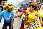 Nairo Quintana (COL) Movistar Team with Colombian fans at sign on before the start of Stage 13 of the 2018 Tour de France running 169.5km from Bourg d'Oisans to Valence, France. 20th July 2018. <br /> Picture: ASO/Alex Broadway | Cyclefile<br /> All photos usage must carry mandatory copyright credit (&copy; Cyclefile | ASO/Alex Broadway)