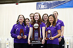 COLUMBUS, OH - MARCH 11: Texas Christian University stands with the runner-up place trophy during the Division I Rifle Championships held at The French Field House on the Ohio State University campus on March 11, 2017 in Columbus, Ohio. (Photo by Jay LaPrete/NCAA Photos via Getty Images)