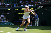 Naomi Broady (GBR) in action during her match against Garbine Muguruza (ESP)<br /> <br /> Photographer Rob Newell/CameraSport<br /> <br /> Wimbledon Lawn Tennis Championships - Day 2 - Tuesday 3rd July 2018 -  All England Lawn Tennis and Croquet Club - Wimbledon - London - England<br /> <br /> World Copyright &not;&copy; 2017 CameraSport. All rights reserved. 43 Linden Ave. Countesthorpe. Leicester. England. LE8 5PG - Tel: +44 (0) 116 277 4147 - admin@camerasport.com - www.camerasport.com