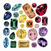 Watercolour painting of lots of different gemstones