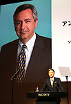 May 23, 2017, Tokyo, Japan - Japan's electronics giant Sony president Kazuo Hirai announces the company's business strategy at Sony headquarters in Tokyo on Tuesday, May 23, 2017, background is Sony Pictures new CEO Anthony Vinciquerra. Sony aims at operating profit will be 500 billion yen and ROE 10 percent this year.   (Photo by Yoshio Tsunoda/AFLO) LwX -ytd-
