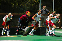 30 August 2005: Lyndsay Erickson, Sarah Scheller, Tammy Shuer, Missy Halliday and Aska Sturdevan during Stanford's 3-1 loss to the University of Iowa at the Varsity Turf Field in Stanford, CA.